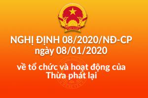Nghị định số 08/2020/NĐ/CP về tổ chức và hoạt động của Thừa phát lại