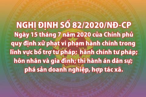 Nghị định số 82/2020/NĐ-CP của Chính phủ  Quy định xử phạt vi phạm hành chính trong lĩnh vực bổ trợ tư pháp; hành chính tư pháp; hôn nhân và gia đình; thi hành án dân sự; phá sản doanh nghiệp, hợp tác xã