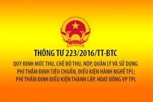 Thông tư 223/2016/TT-BTC về phí thẩm định tiêu chuẩn điều kiện hành nghề Thừa phát lại